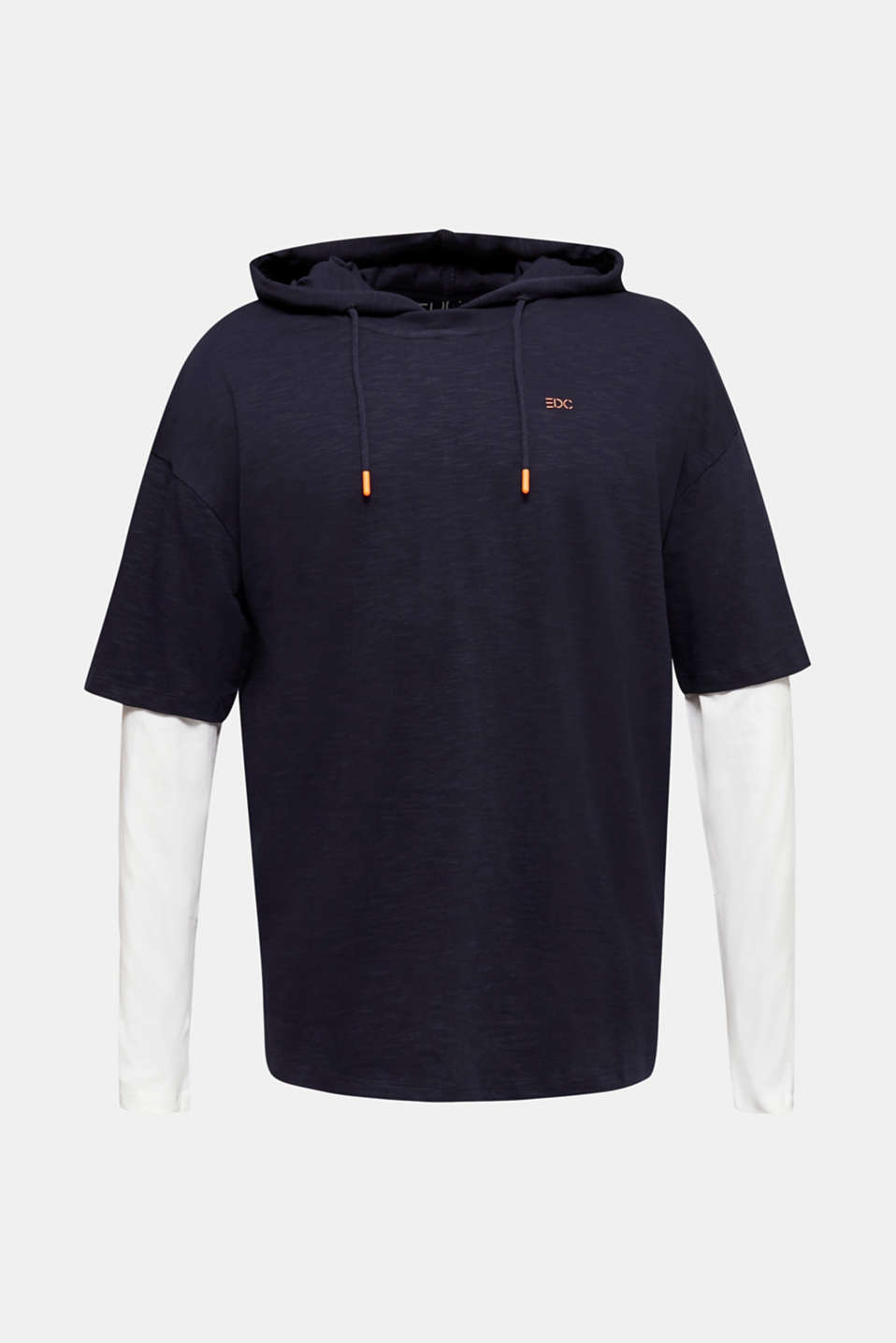 Layered jersey top with a hood, 100% cotton, NAVY 2, detail image number 7
