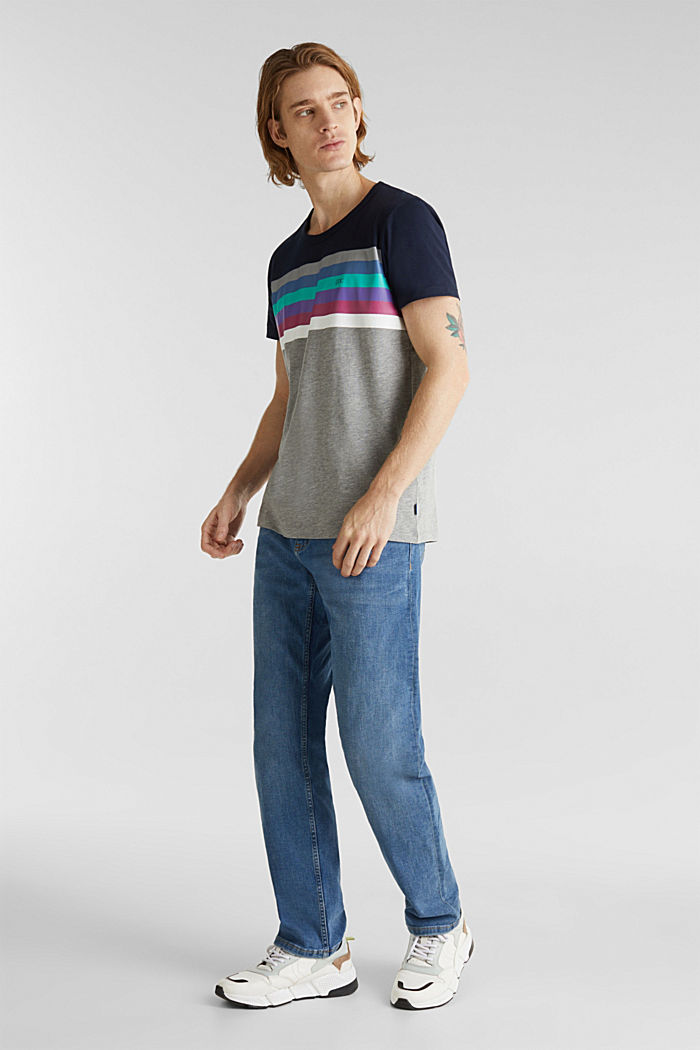 Jersey-Shirt mit Multicolor-Streifen, MEDIUM GREY, detail image number 2