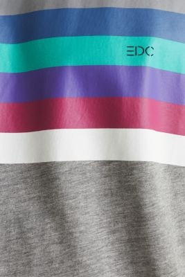 Jersey T-shirt with multi-colour stripes, MEDIUM GREY 2, detail
