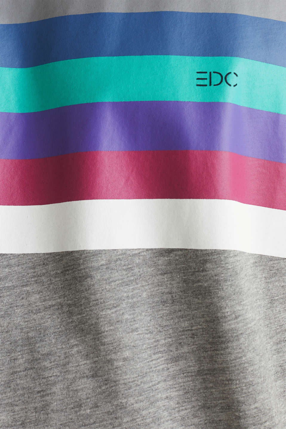 Jersey T-shirt with multi-colour stripes, MEDIUM GREY 2, detail image number 4