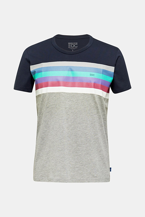 Jersey T-shirt with multi-colour stripes