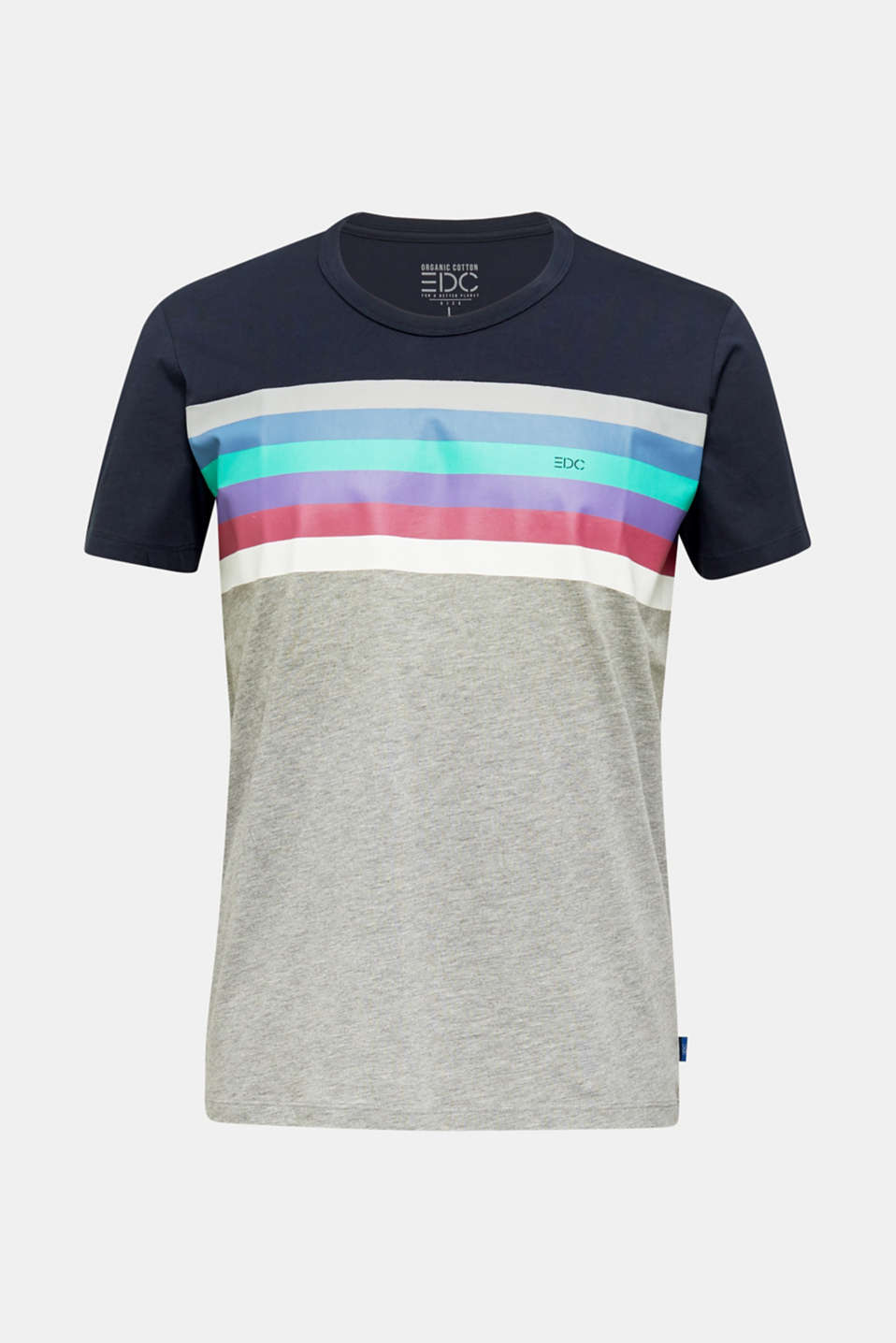 Jersey T-shirt with multi-colour stripes, MEDIUM GREY 2, detail image number 5