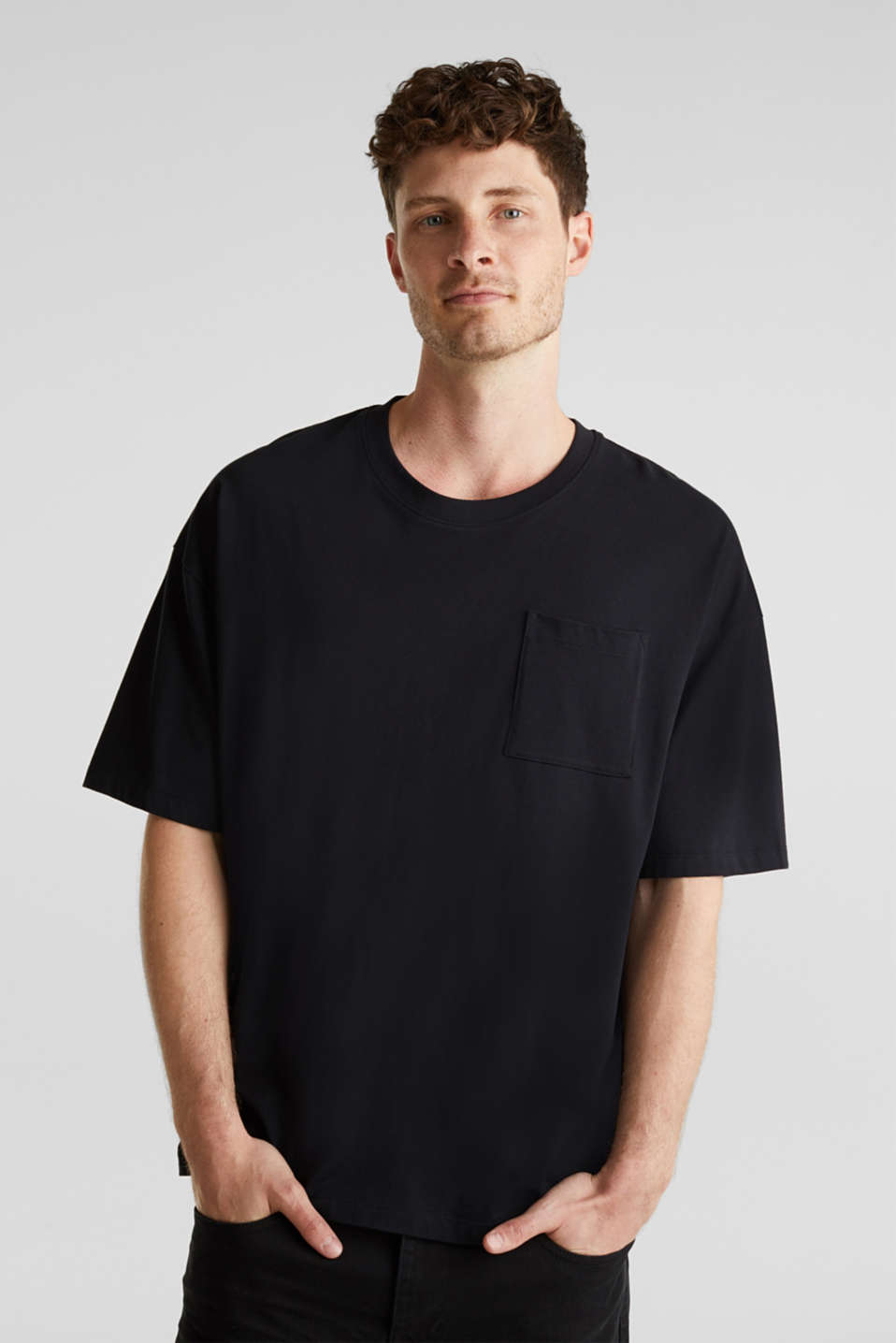 Oversized top in cotton jersey, BLACK, detail image number 0