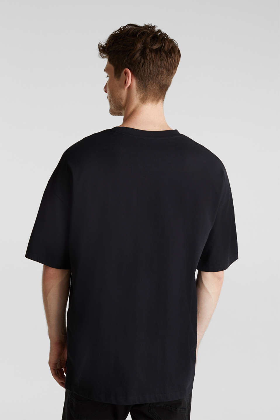 Oversized top in cotton jersey, BLACK, detail image number 3