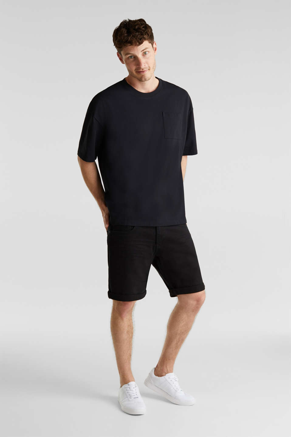 Oversized top in cotton jersey, BLACK, detail image number 2