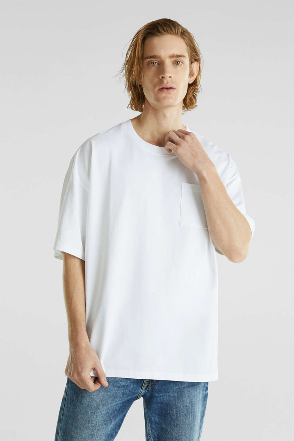 Oversized top in cotton jersey, WHITE, detail image number 0