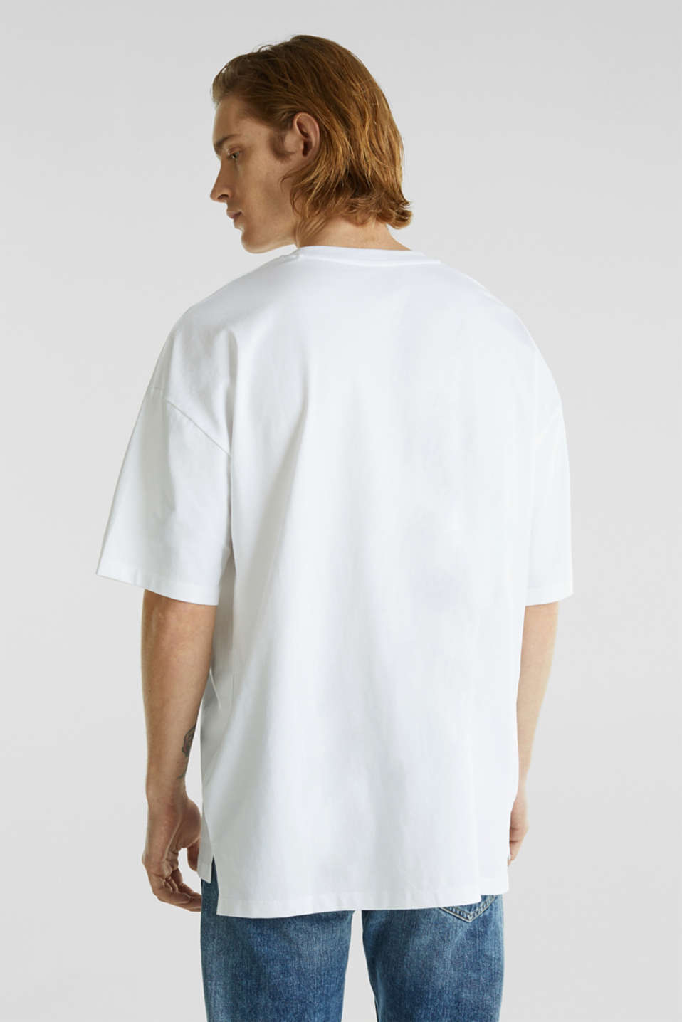 Oversized top in cotton jersey, WHITE, detail image number 3