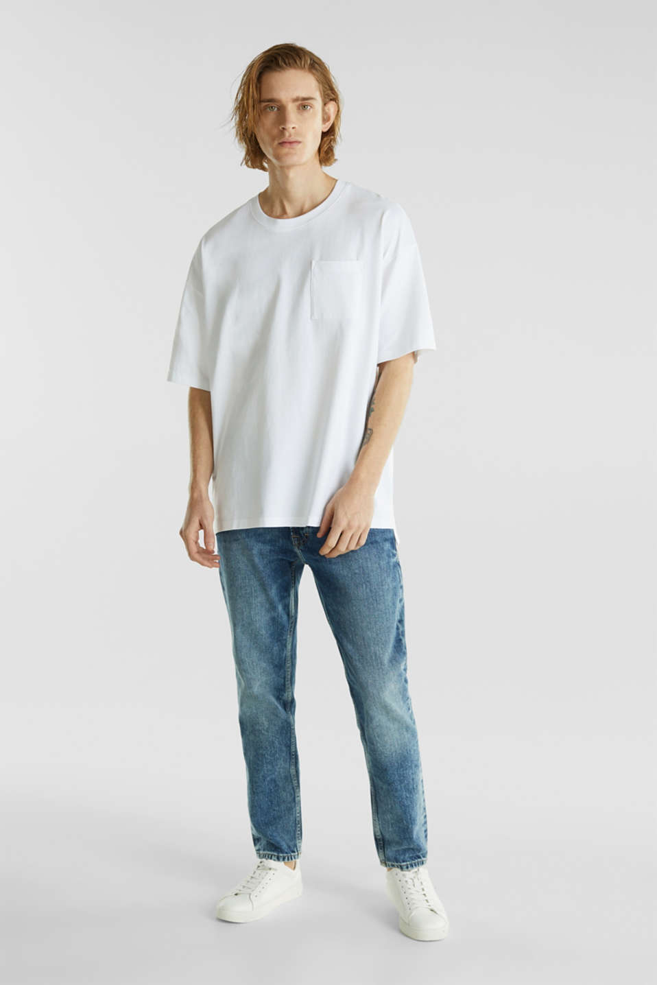 Oversized top in cotton jersey, WHITE, detail image number 2