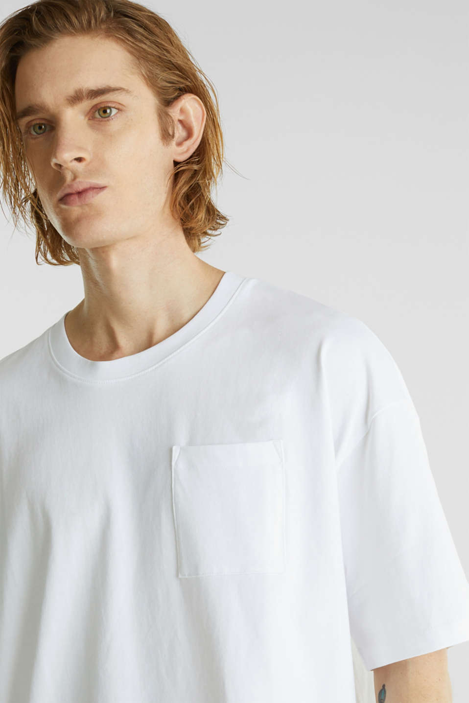 Oversized top in cotton jersey, WHITE, detail image number 1