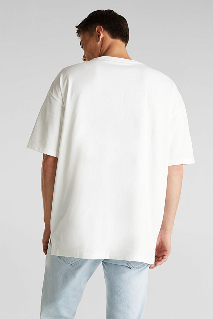 Oversized top in cotton jersey, OFF WHITE, detail image number 3