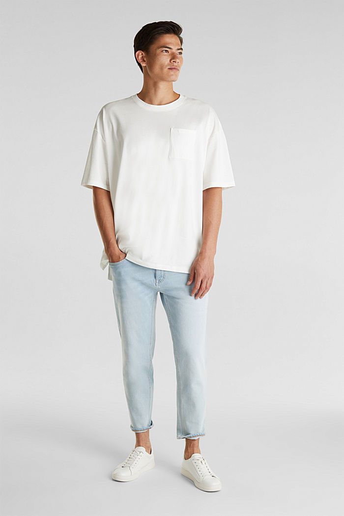 Oversized top in cotton jersey, OFF WHITE, detail image number 2