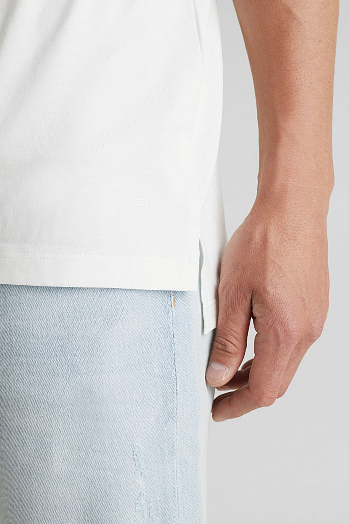 Oversized top in cotton jersey, OFF WHITE, detail image number 6