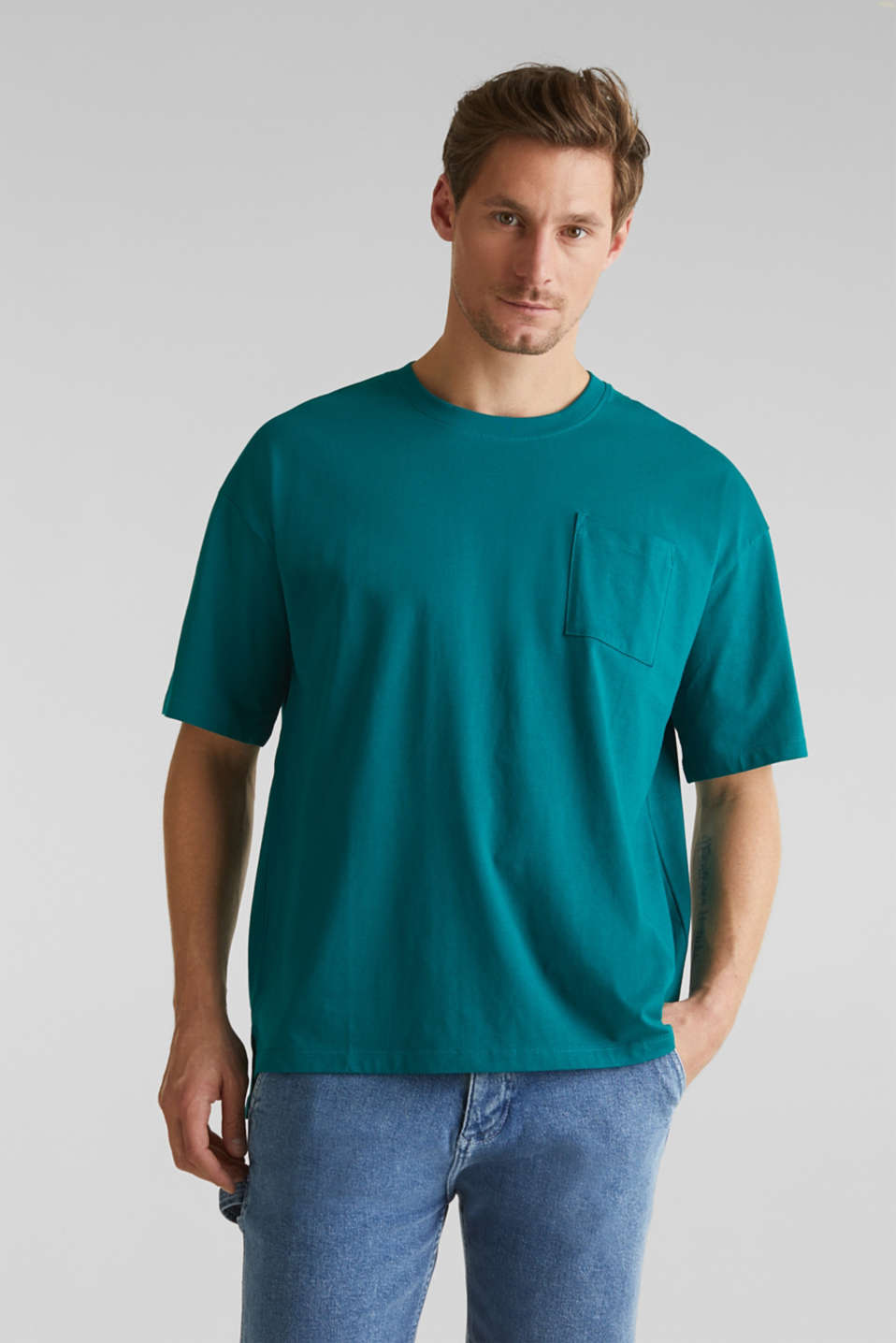 Oversized top in cotton jersey, BOTTLE GREEN, detail image number 0