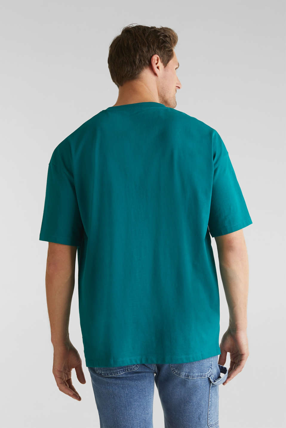 Oversized top in cotton jersey, BOTTLE GREEN, detail image number 3