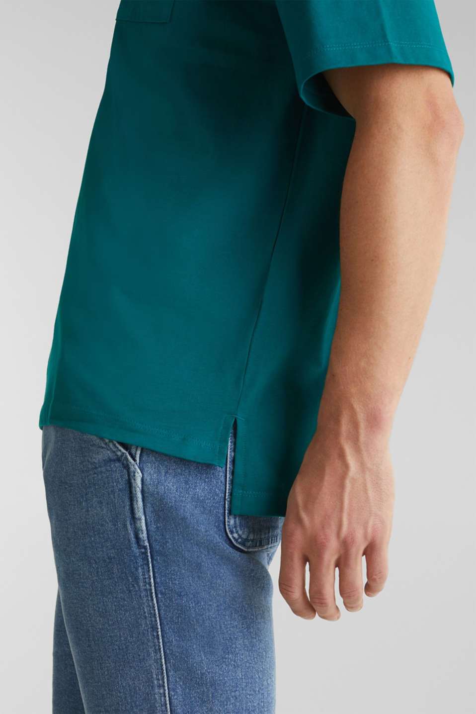 Oversized top in cotton jersey, BOTTLE GREEN, detail image number 6