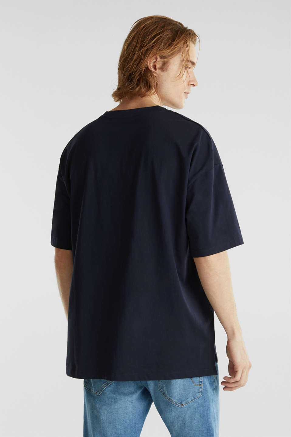 Oversized top in cotton jersey, NAVY, detail image number 3