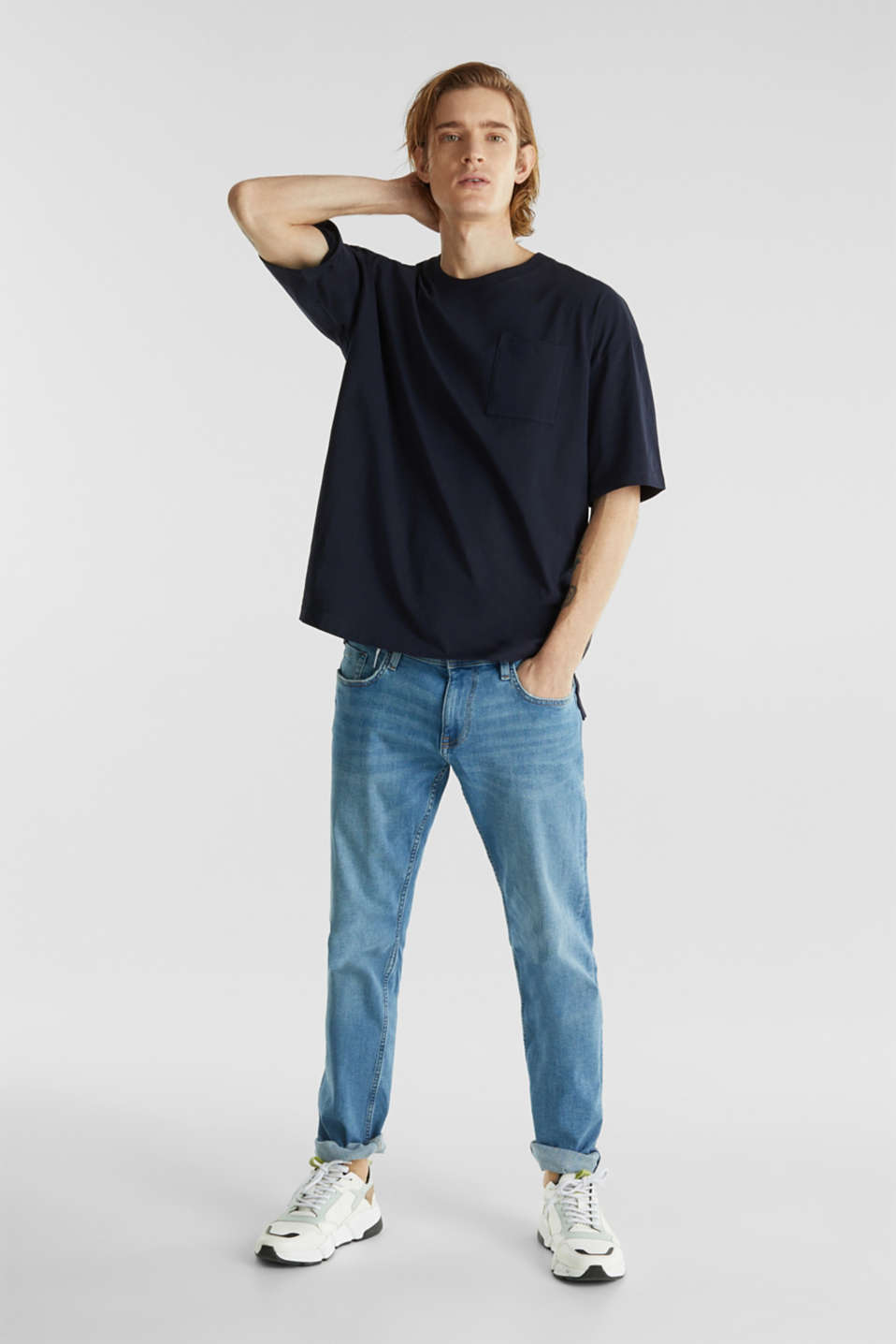 Oversized top in cotton jersey, NAVY, detail image number 2