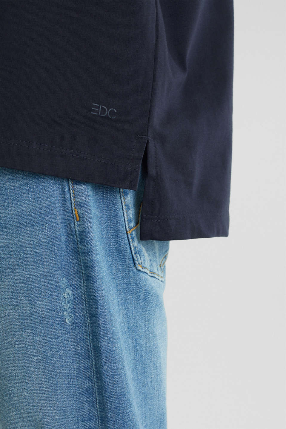 Oversized top in cotton jersey, NAVY, detail image number 5