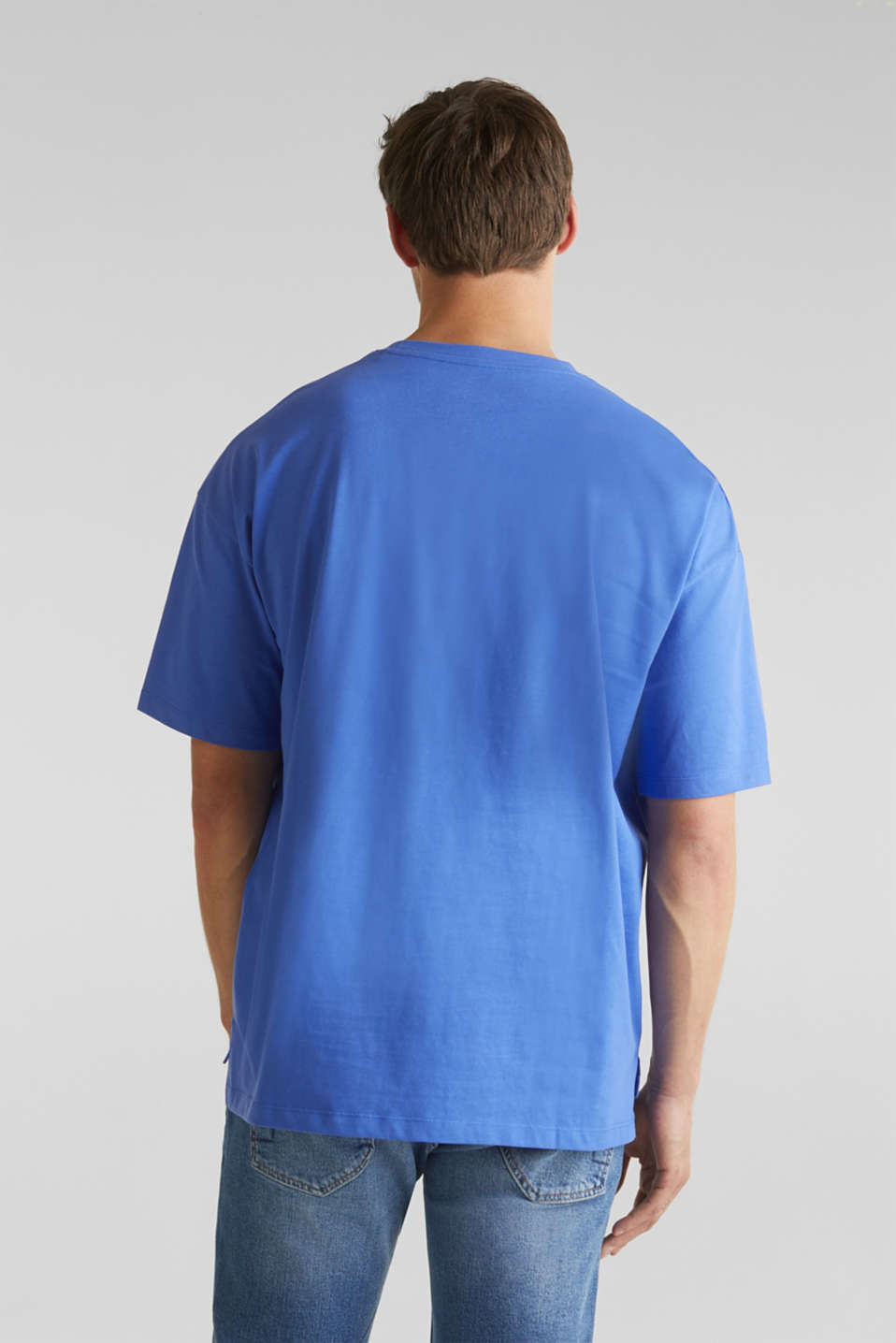 Oversized top in cotton jersey, BRIGHT BLUE, detail image number 3