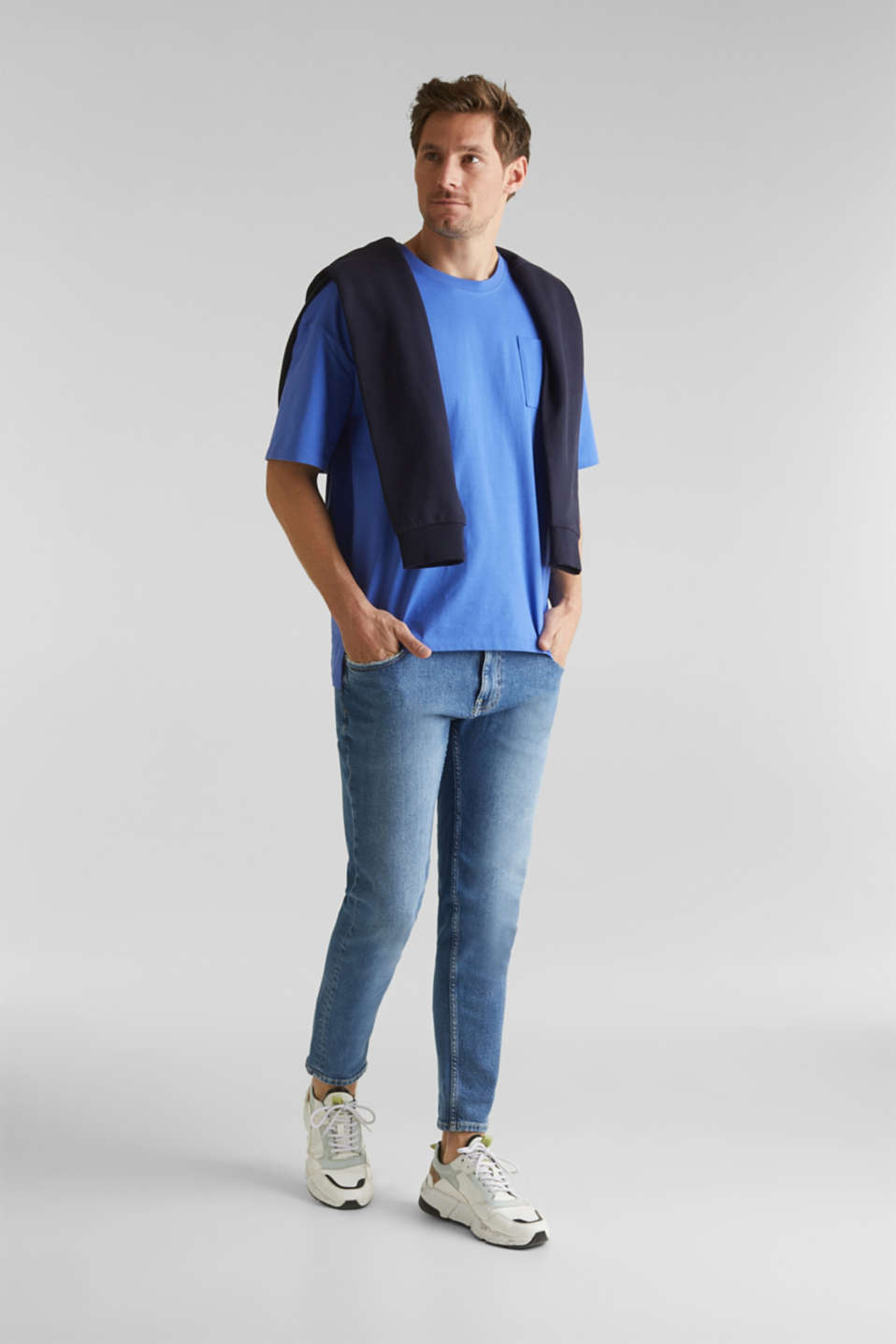 Oversized top in cotton jersey, BRIGHT BLUE, detail