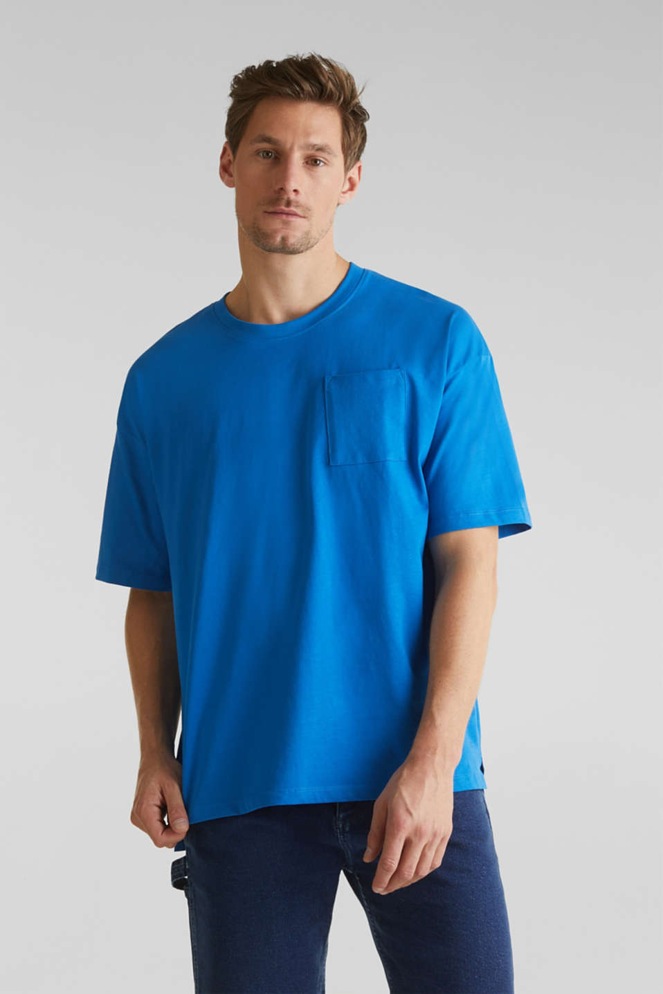 Oversized top in cotton jersey, BLUE, detail image number 0