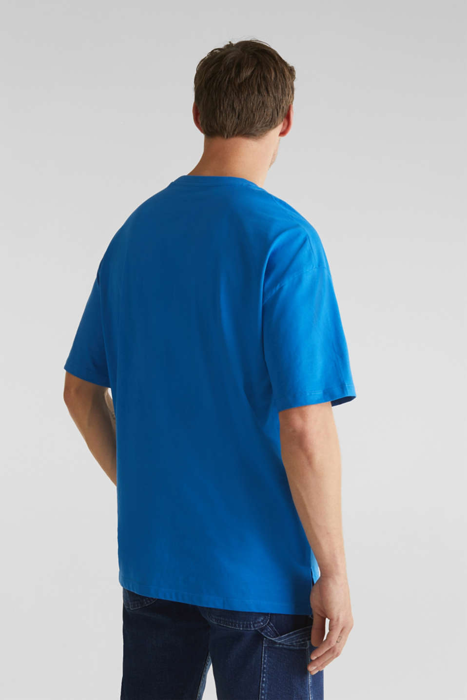 Oversized top in cotton jersey, BLUE, detail image number 3