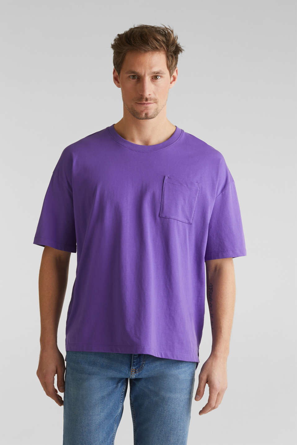 Oversized top in cotton jersey, PURPLE, detail image number 0