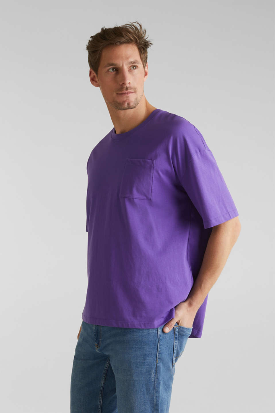Oversized top in cotton jersey, PURPLE, detail image number 4