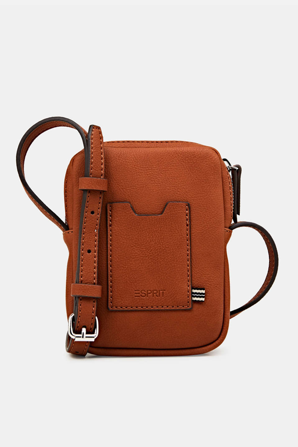 Small faux leather shoulder bag, RUST BROWN, detail image number 0