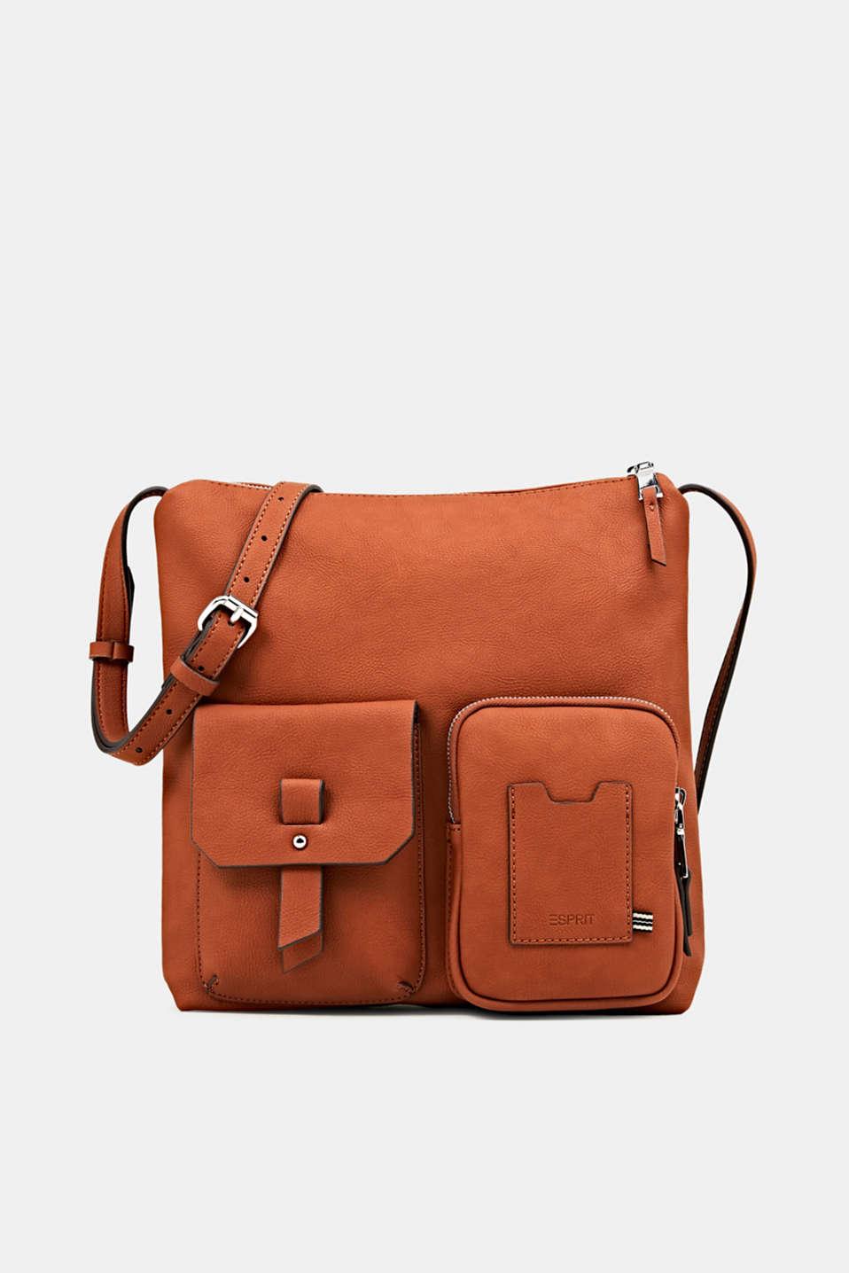 Faux leather shoulder bag, RUST BROWN, detail image number 0