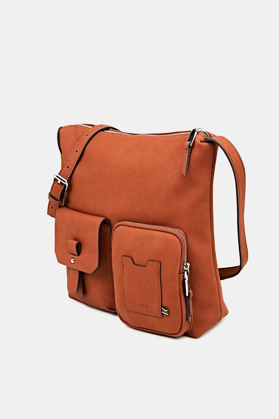 Faux leather shoulder bag, RUST BROWN, detail image number 2