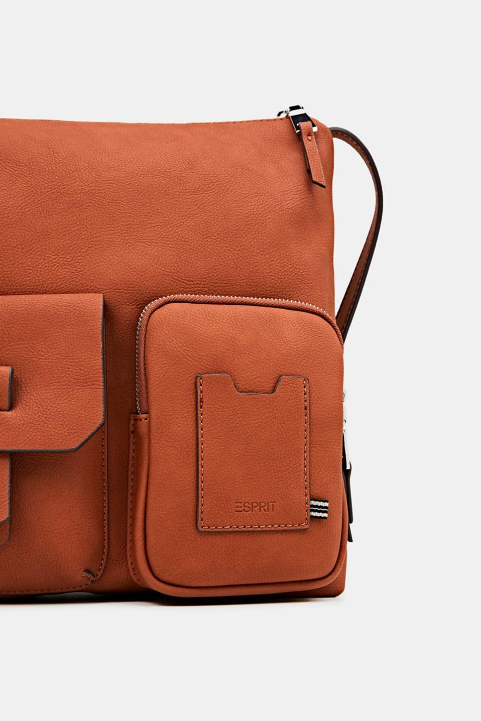 Faux leather shoulder bag, RUST BROWN, detail image number 3