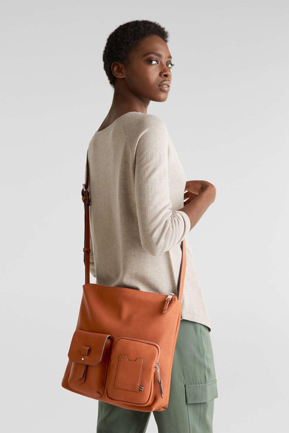 Faux leather shoulder bag, RUST BROWN, detail image number 1