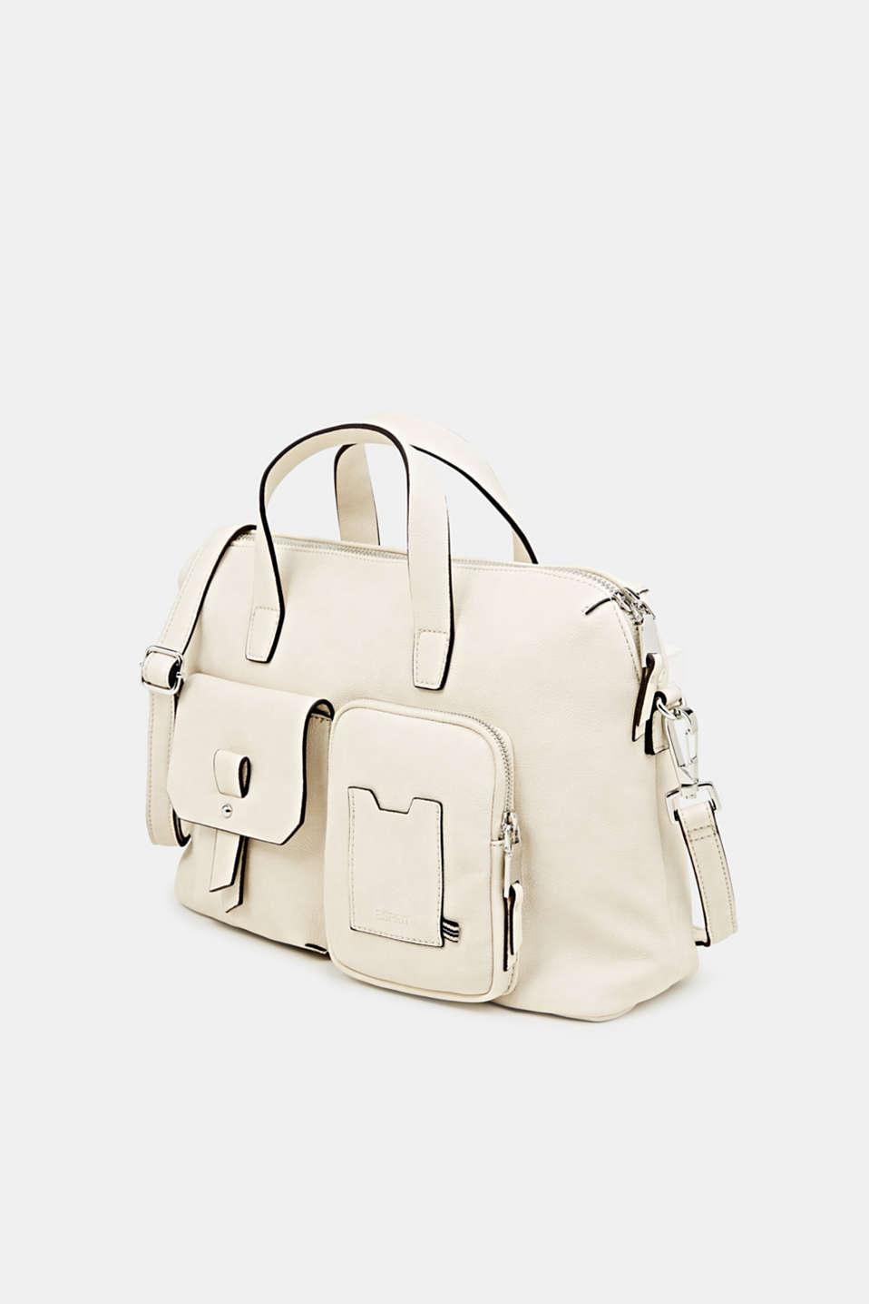 Faux leather handbag, CREAM BEIGE, detail image number 2