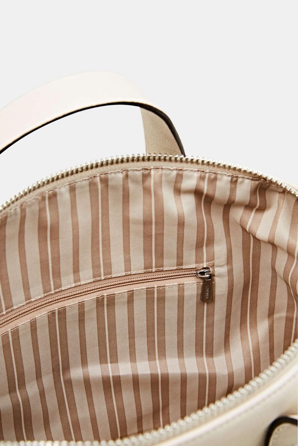 Faux leather handbag, CREAM BEIGE, detail image number 4