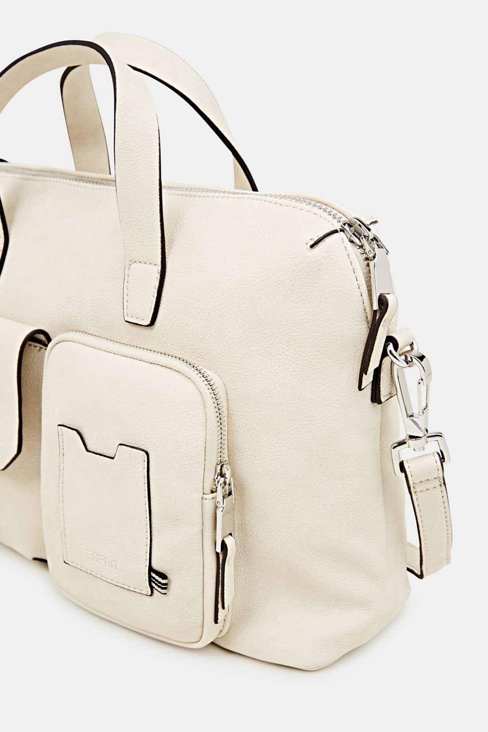 Faux leather handbag, CREAM BEIGE, detail image number 3