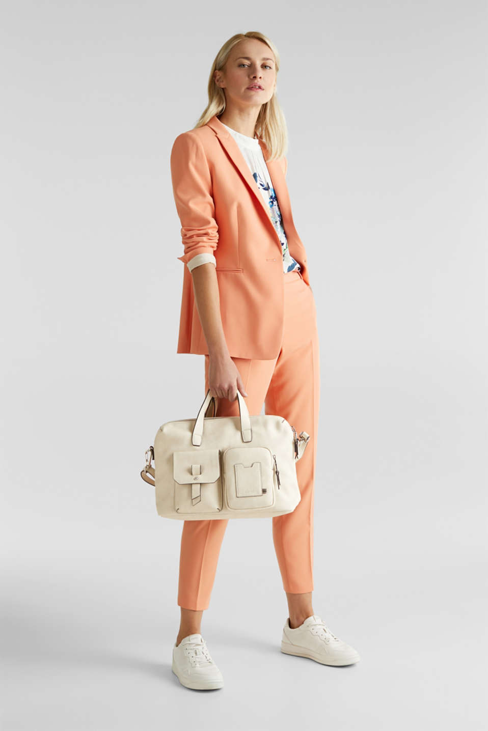 Faux leather handbag, CREAM BEIGE, detail image number 1