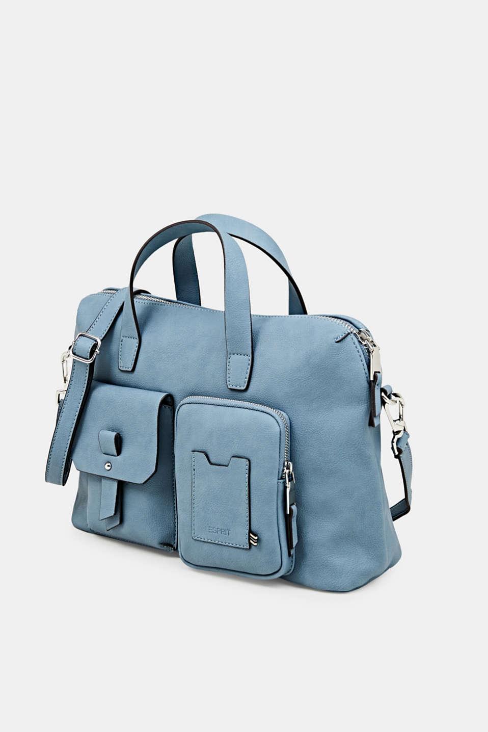 Faux leather handbag, LIGHT BLUE, detail image number 2