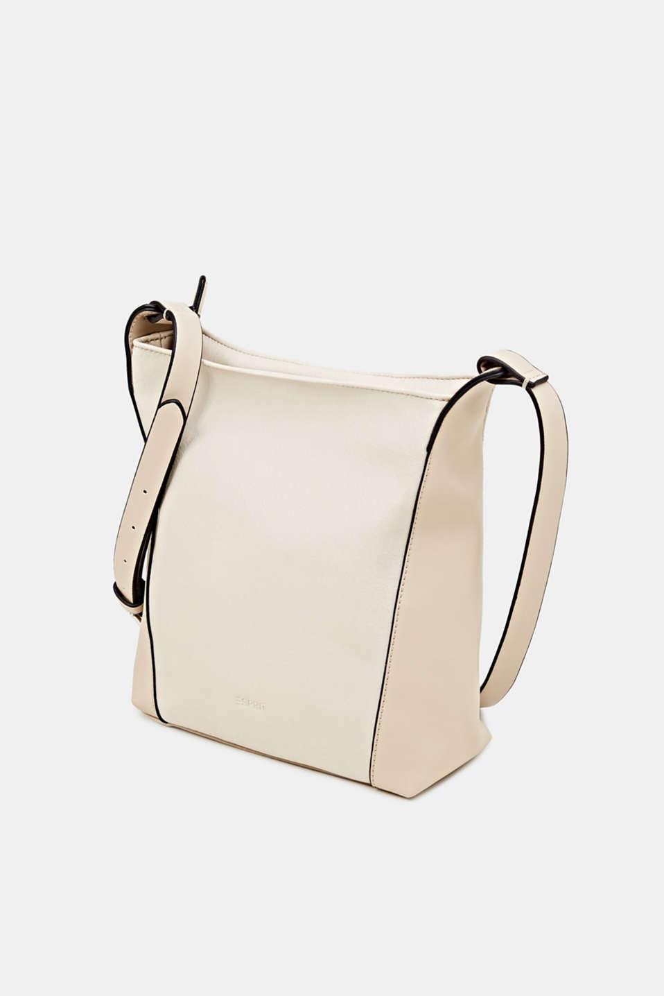 Mixed material shoulder bag, vegan, CREAM BEIGE, detail image number 2