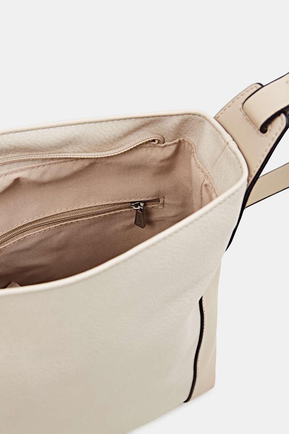 Mixed material shoulder bag, vegan, CREAM BEIGE, detail image number 4
