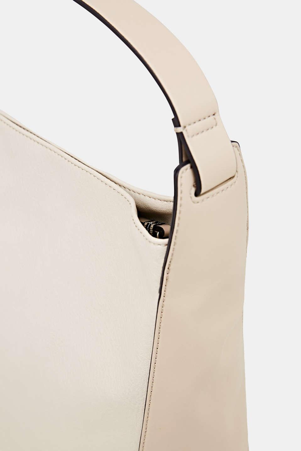 Material mix shoulder bag, vegan, CREAM BEIGE, detail image number 3