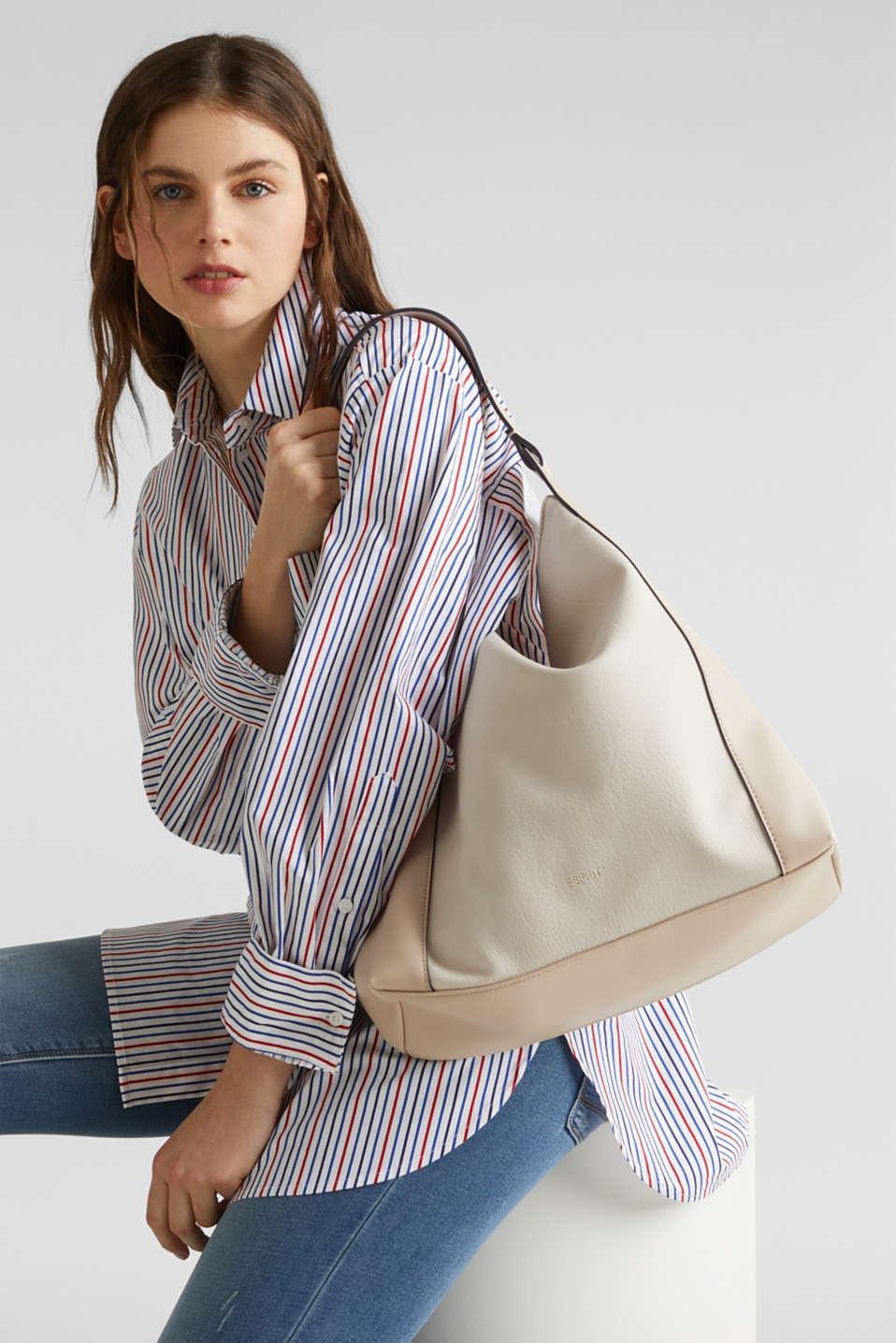 Material mix shoulder bag, vegan, CREAM BEIGE, detail image number 1