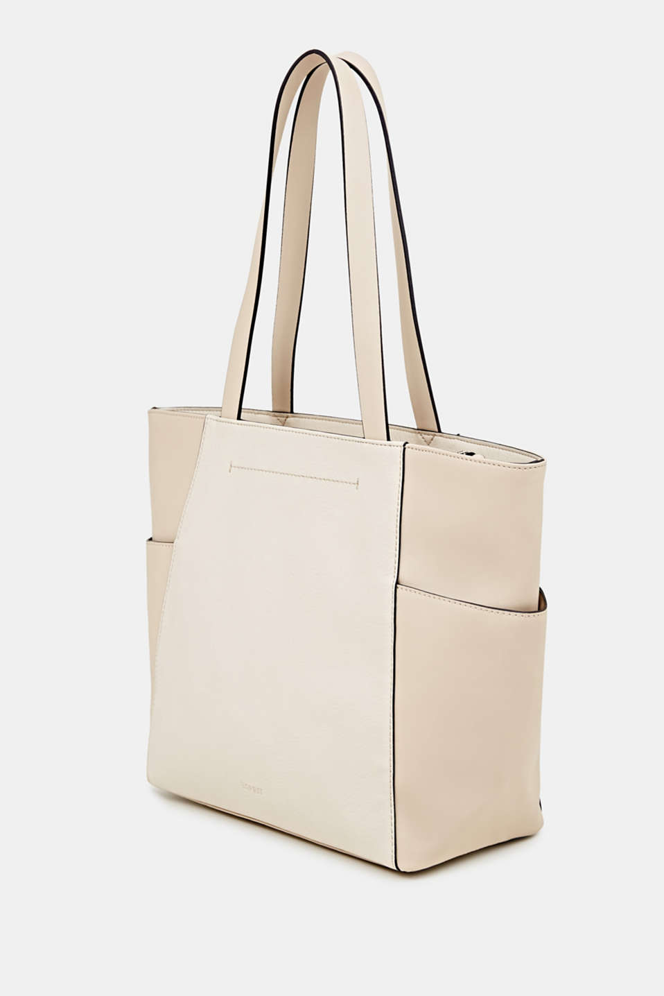 Material mix shopper, vegan, CREAM BEIGE, detail image number 2