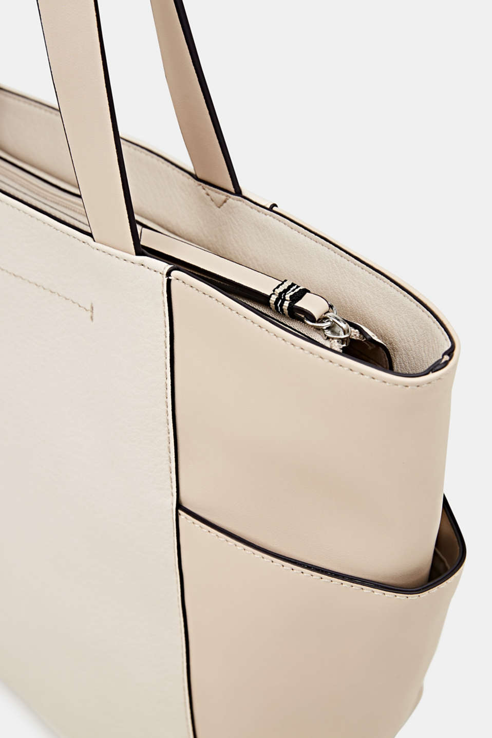 Material mix shopper, vegan, CREAM BEIGE, detail image number 3