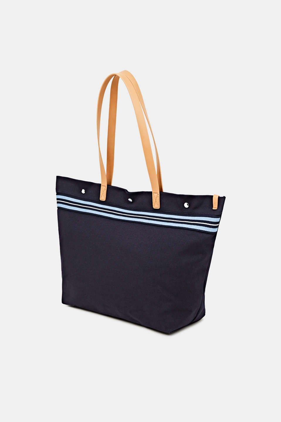 Canvas shopper with woven tape trim, NAVY, detail image number 2