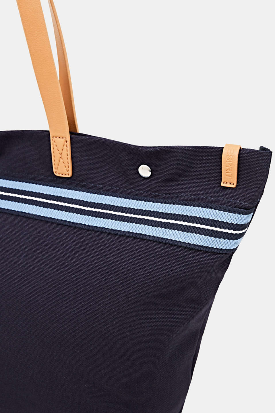 Canvas shopper with woven tape trim, NAVY, detail image number 3