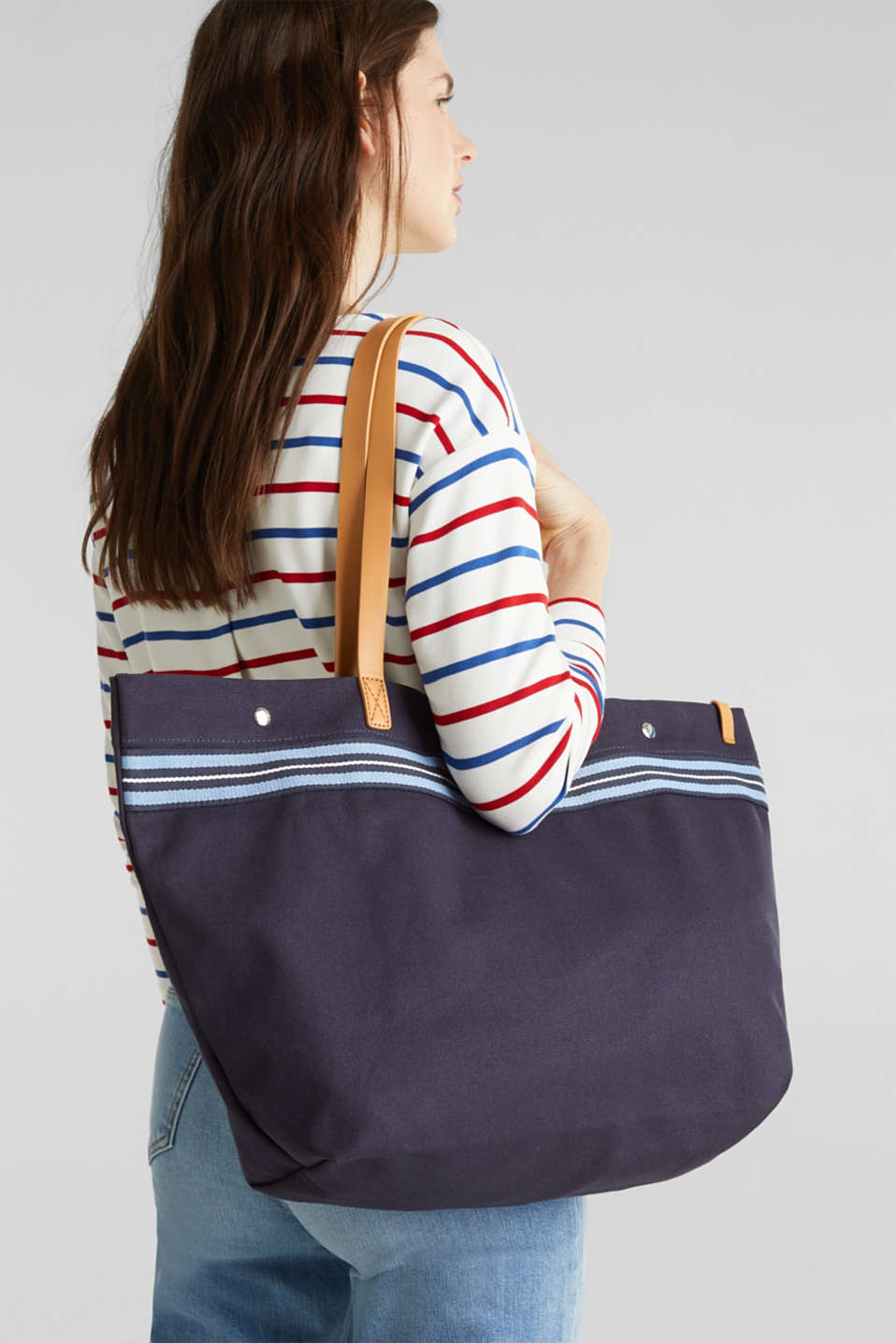 Canvas shopper with woven tape trim, NAVY, detail image number 1