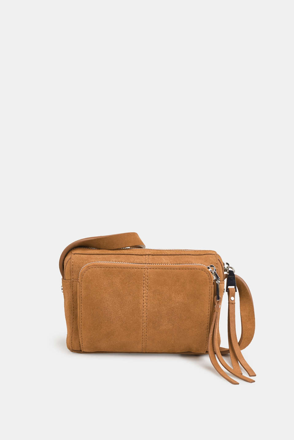 Small shoulder bag made of suede, RUST BROWN, detail image number 0