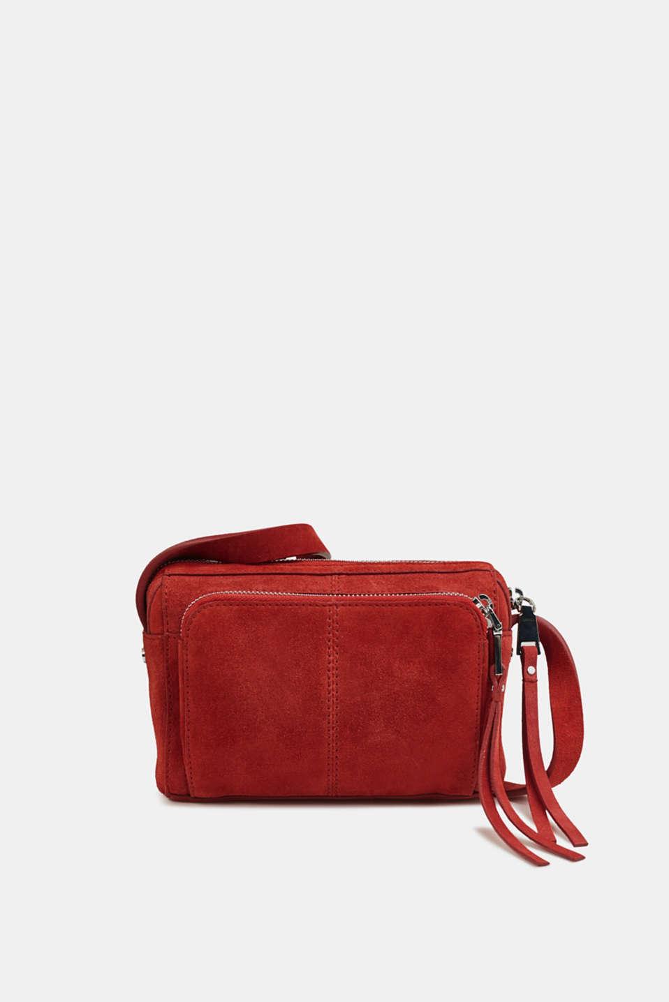 Small shoulder bag made of suede, RED, detail image number 0