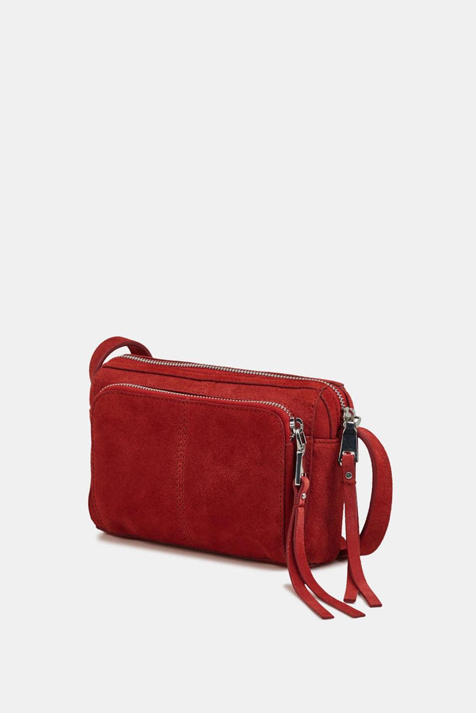 Small shoulder bag made of suede, RED, detail image number 2